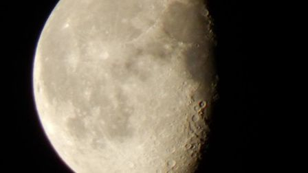 A close-up of the moon, taken from Cromer. Photo: Jim Bamford