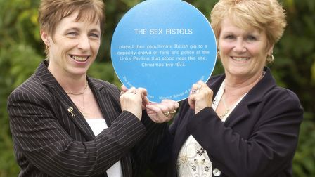 The Sesx Pistols' gig at The Links was commemorated with a blue plaque in 2004. Pictured at the time