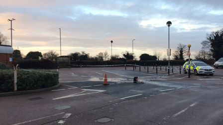 Police tape and car at Tesco Stalham car park this morning. Picture: David Bale