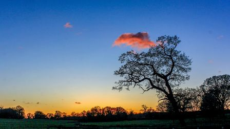 The sun sets after another beautiful but cold wintery day in Blickling. Photo: Richard Brunton