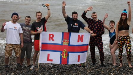 At Sheringham's New Year's Day dip in 2017. Picture: ALLY McGILVRAY