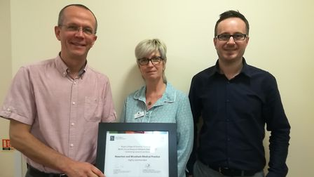 Dr Carsten Dernedde, sister Caroline Mansfield and assistant practice manager Christopher Wright fro
