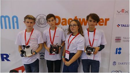 Sheringham students took part in Robotex. L-R, Joshua Keeble, Joel Philpott, Penelope Othon and Rud