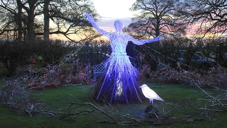 An illuminated Snow Queen sculpture created by artist Ali McKenzie of Tin House, Norwich, for the En