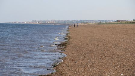 A view of hunstanton from Heacham beach.