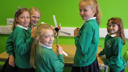 Colby schoolchildren learn how to build wind turbines. Pictures: Sarah Cox