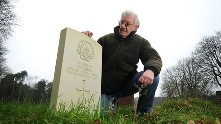 David Rowley pictured at the headstone of Albert Harris at Cromer cemetery a few years ago.Picture: