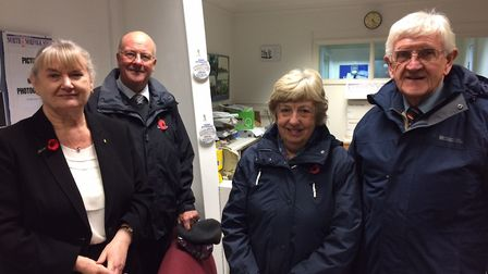 Judith Chapman, left, on her visit to Cromer. With David Rowley on the right. In between them are Ia