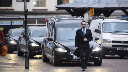 The funeral cortege of Ian Tang arrives at St Nicholas Church in North Walsham. Picture: DENISE BRAD