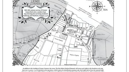 Mid 18th century survey of Cromer transcribed onto a modern base map showing the surviving medieval