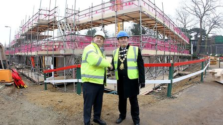 Beaumaris Court site manager Bernie Watson, left, with Sheringham's mayor, Mark Hill. Picture: McCar