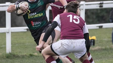 Dan Smith in full flight for North Walsham during their excellent win at Ruislip. Picture: Hywel Jon