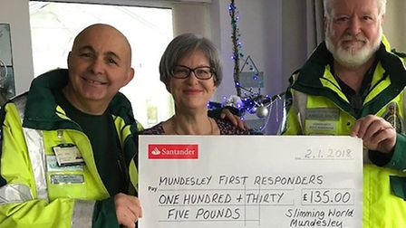 Mario Stango (left) and Leigh Caudwell of Mundesley First Responders accept a donation fromTracy Mac