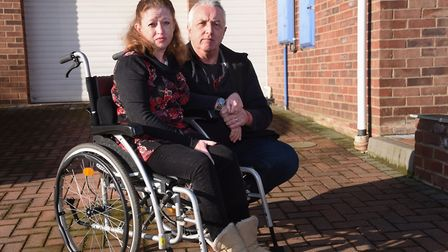 Julie Potter on her empty driveway at North Walsham after having her mobility car taken away, pictur