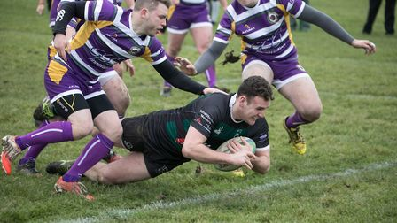 Will Hodgson scores one of eight North Walsham tries in the final game before Christmas, a 50-22 win