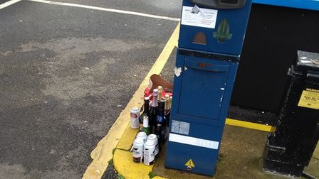 These bottles of alcohol were left in a Sheringham car park - apparently for anyone to take. Picture