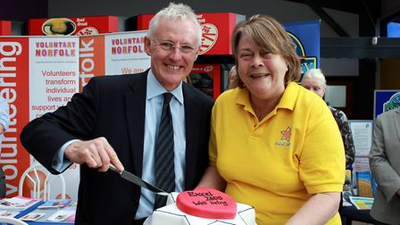 Penny Bevan Jones with North Norfolk MP Norman Lamb at the opening of the Excel 2000 headquarters at