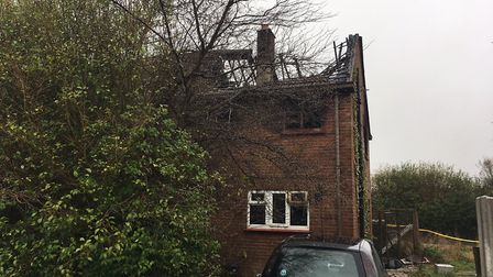 A house was destroyed in a fire in St Margarets Place, Sea Palling. Picture: Stuart Anderson
