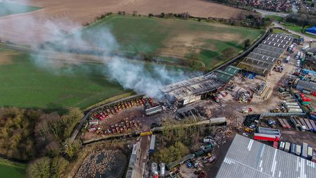 The aftermath of the blaze in North Walsham. Picture: BlueSky UAV Specialists