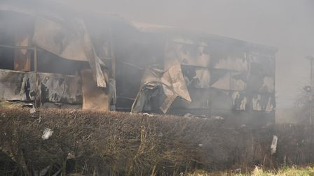 Fire continues to smoulder at Drurys in North Wlasham.Byline: Sonya DuncanCopyright: Archant 2018