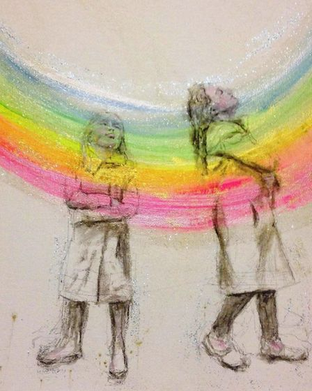 Rainbow-inspired painting of two chldren by artist Hannah Hardy. Photo: Hannah Hardy