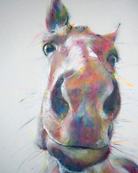 Horse painting, by Hannah Hardy, whose work is on show at the Norfolk and Norwich University Hospita