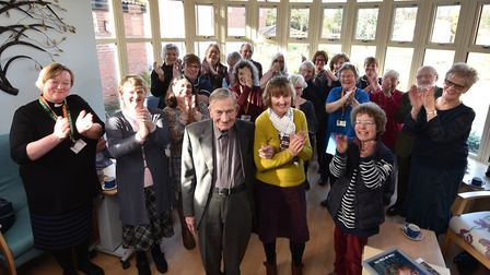 Chaplain of Kelling Hospital, Rev Robert Roe, retires. Robert pictured with family, friends and coll