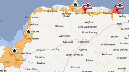 An Environment Agency map of the food warnings on February 1, 2018. Image: Bing/Environment Agency