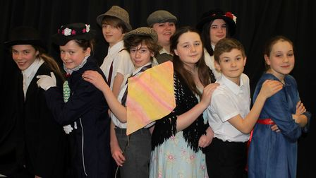 Principal characters in Mary Poppins Jr, which runs at Sheringham High School from March 15-17. Phot