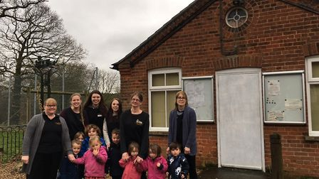 Becky Garratt, far right, with staff and youngsters at Little Sprouts nursery in Aylmerton. Picture: