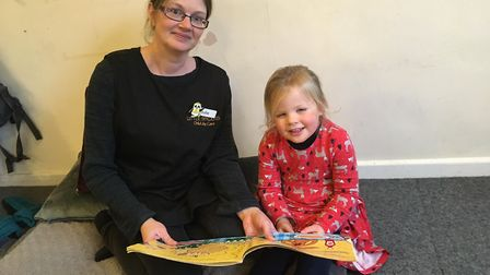 Child carer Julie Dawson with three-year-old Annabel Dunne at Little Sprouts nursery in Aylmerton. P
