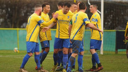 Norwich United celebrate a goal during their 3-3 draw against Tilbury. Picture: Denise Bradley