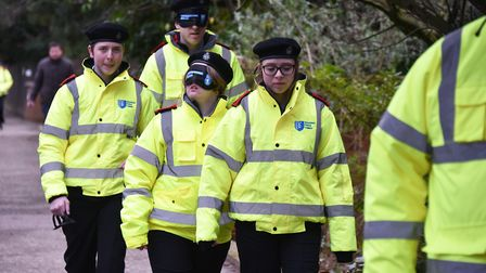 Police and police cadets have a blindfolded walk around North Walsham town centre.Picture: ANTONY KE