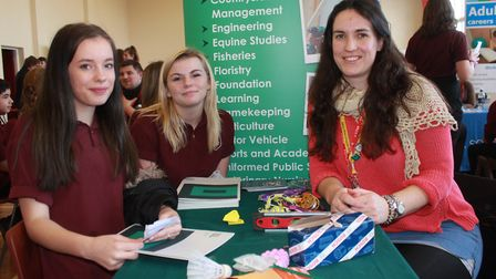 Fourteen-year-old friends Destiny Jones and Elize Wells chat to Easton and Otley College outreach co