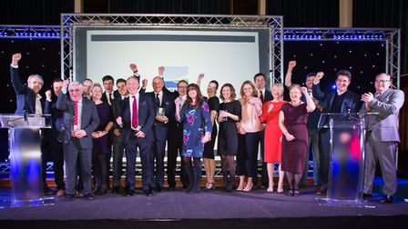 Award winners and sponsors at the first North Norfolk Business Awards at Gresham's Big School. Pictu