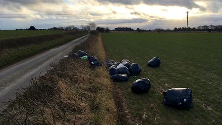 The rubbish, believed to be from a cannabis farm, found in Southrepps. Picture: Tim Adams