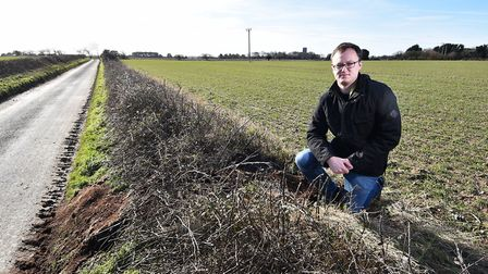 Councillor Tim Adams pictured at the spot in Southrepps where he found the dumped bags of cannabis.P