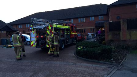 A sheltered housing resident was treated for smoke inhalation after a fire broke out in his flat in