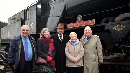 Pictured with the locomotive, left to right, Neil Sharpe, Kate Thaxton, Brigadier Max Marriner, Dick