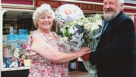 Michael Barnwell and Gwen Wright in 2006 celebrating her 65th birthday. Picture: Supplied by Julian