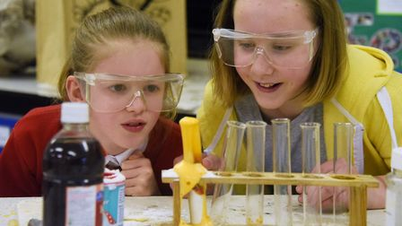 Stalham Academy pupils experiment with the reaction of vinegar with baking soda during their school