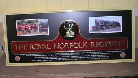 90775''s third nameplate and display board. Picture: North Norfolk Railway