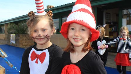 Sheringham Primary pals Isla and Peggy in their Cat in the Hat costumes. Photo: KAREN BETHELL