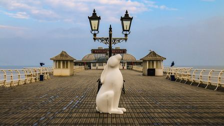 One of the undecorated 'moongazer' hare sculptures on Cromer Pier. Photo: Mark Ivan Benfield