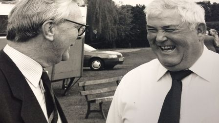 Tributes paid to David Armstrong, left, with David Shepherd. Pictures: Supplied by Gail Armstrong