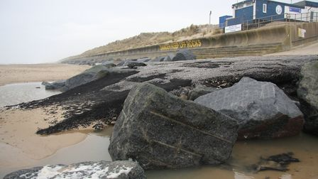The ramp showing the ten tonnes of bitumen - which had no effect. Pictures: Maurice Gray