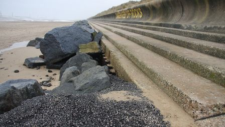 Sea Palling after sand loss to right of ramp. Pictures: Maurice Gray