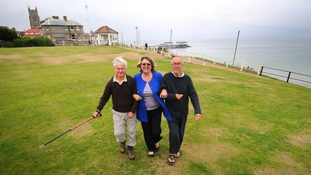 Flashback to when Cromer won the Walkers are Welcome status. L-R, Don Davenport, Julie Chance and Ti