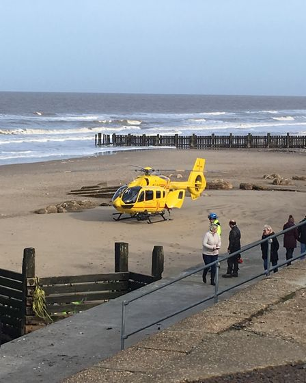 The East Anglian Air Ambulance and Bacton Coastguard rushed to help when a man fell off a sea wall a