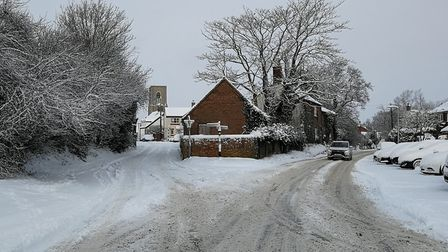 Cawston covered in snow. Main road with St Agnes Church in the background. Picture: DONNA-LOUISE BIS